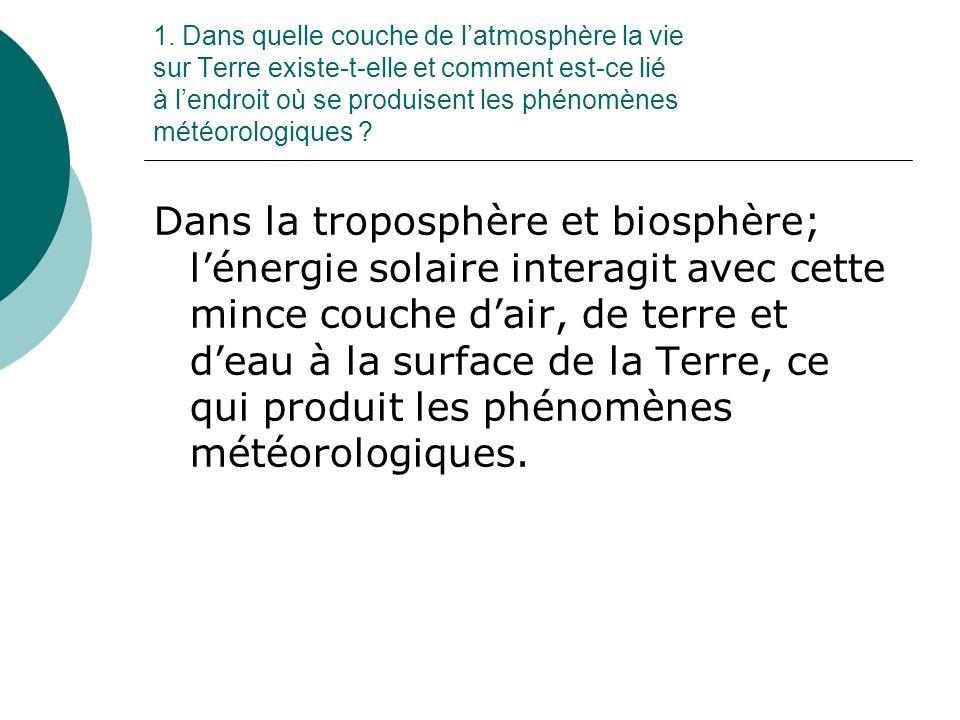 1. Dans quelle couche de latmosphère la vie sur Terre existe-t-elle et comment est-ce lié à lendroit où se produisent les phénomènes météorologiques ?