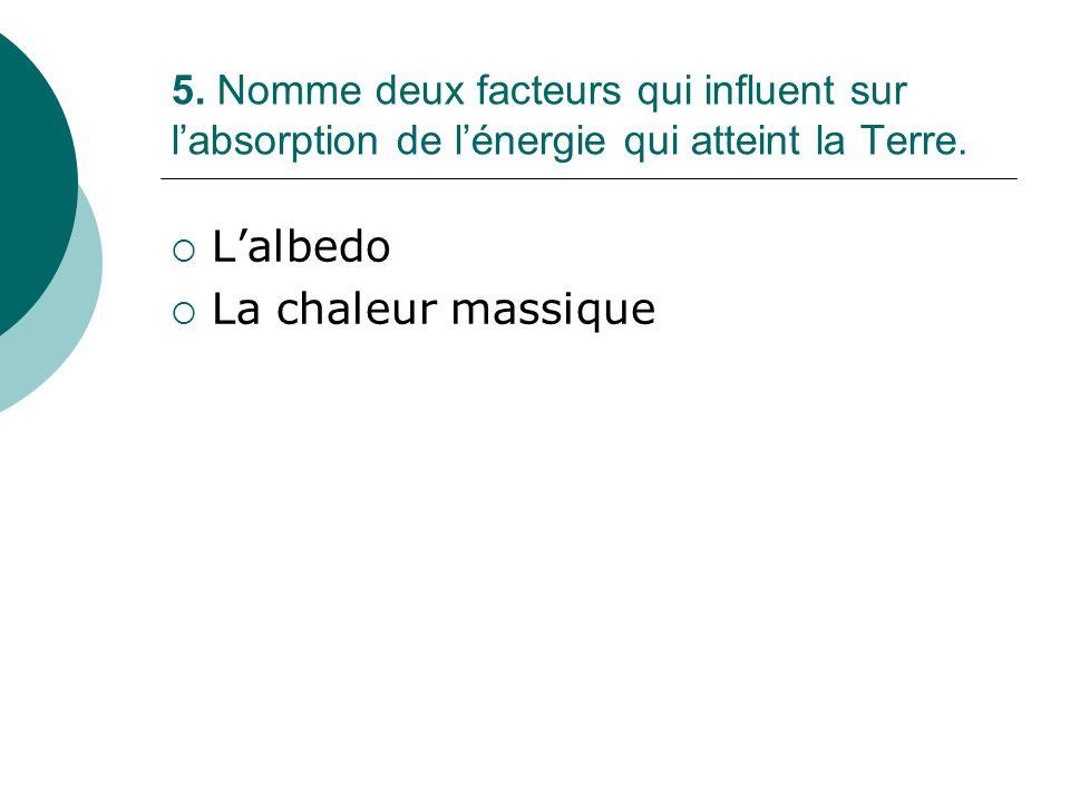 5. Nomme deux facteurs qui influent sur labsorption de lénergie qui atteint la Terre. Lalbedo La chaleur massique