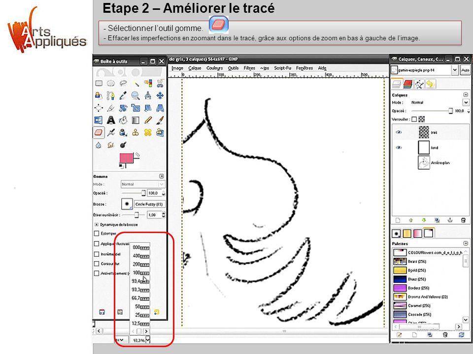 Etape 2 – Améliorer le tracé - Sélectionner loutil gomme. - Effacer les imperfections en zoomant dans le tracé, grâce aux options de zoom en bas à gau
