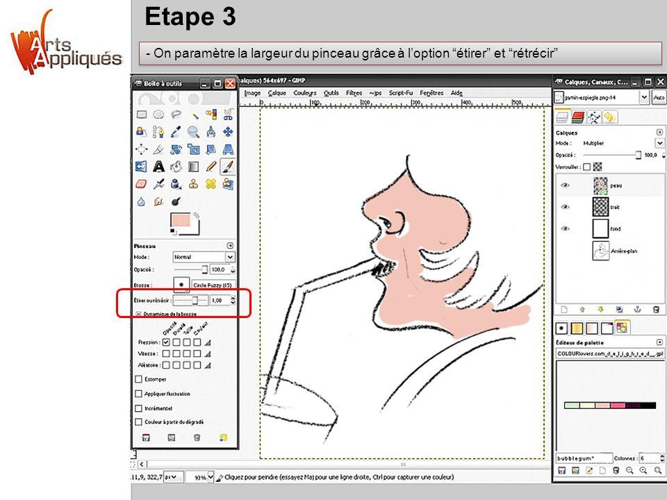 Etape 3 - On paramètre la largeur du pinceau grâce à loption étirer et rétrécir