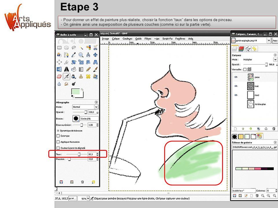 Etape 3 - Pour donner un effet de peinture plus réaliste, choisir la fonction taux dans les options de pinceau. - On génère ainsi une superposition de