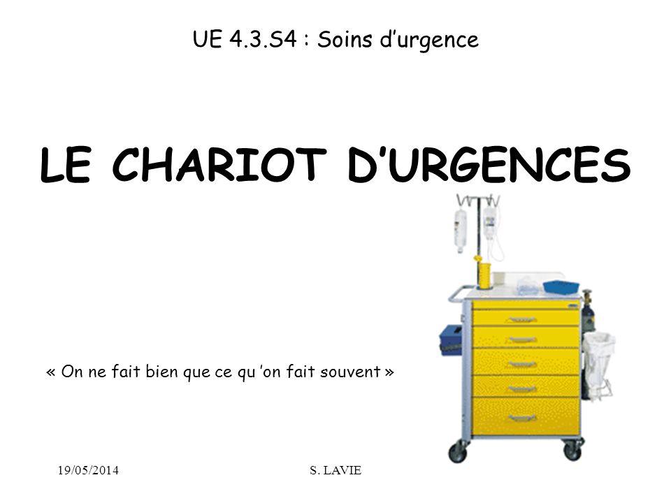 19/05/2014S. LAVIE LE CHARIOT DURGENCES UE 4.3.S4 : Soins durgence « On ne fait bien que ce qu on fait souvent »