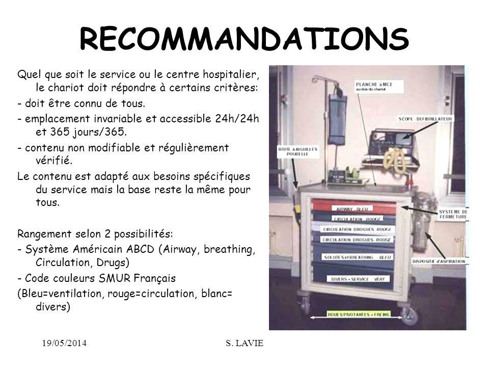 19/05/2014S. LAVIE RECOMMANDATIONS Quel que soit le service ou le centre hospitalier, le chariot doit répondre à certains critères: - doit être connu
