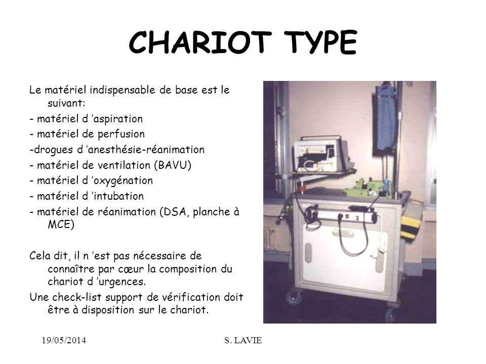 19/05/2014S. LAVIE CHARIOT TYPE Le matériel indispensable de base est le suivant: - matériel d aspiration - matériel de perfusion -drogues d anesthési