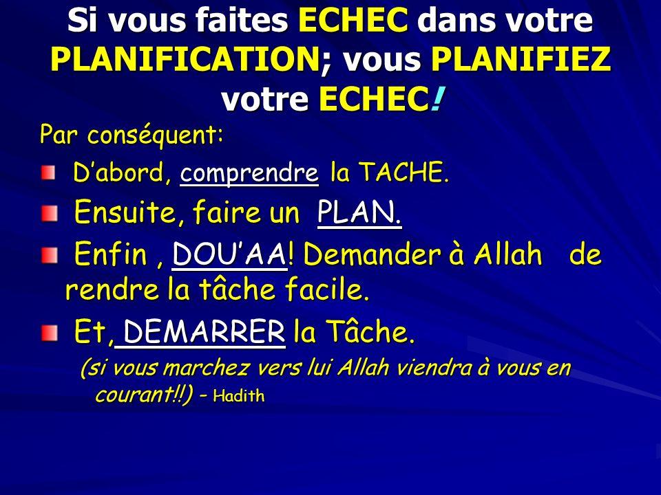 Si vous faites ECHEC dans votre PLANIFICATION; vous PLANIFIEZ votre ECHEC! Par conséquent: Dabord, comprendre la TACHE. Dabord, comprendre la TACHE. E