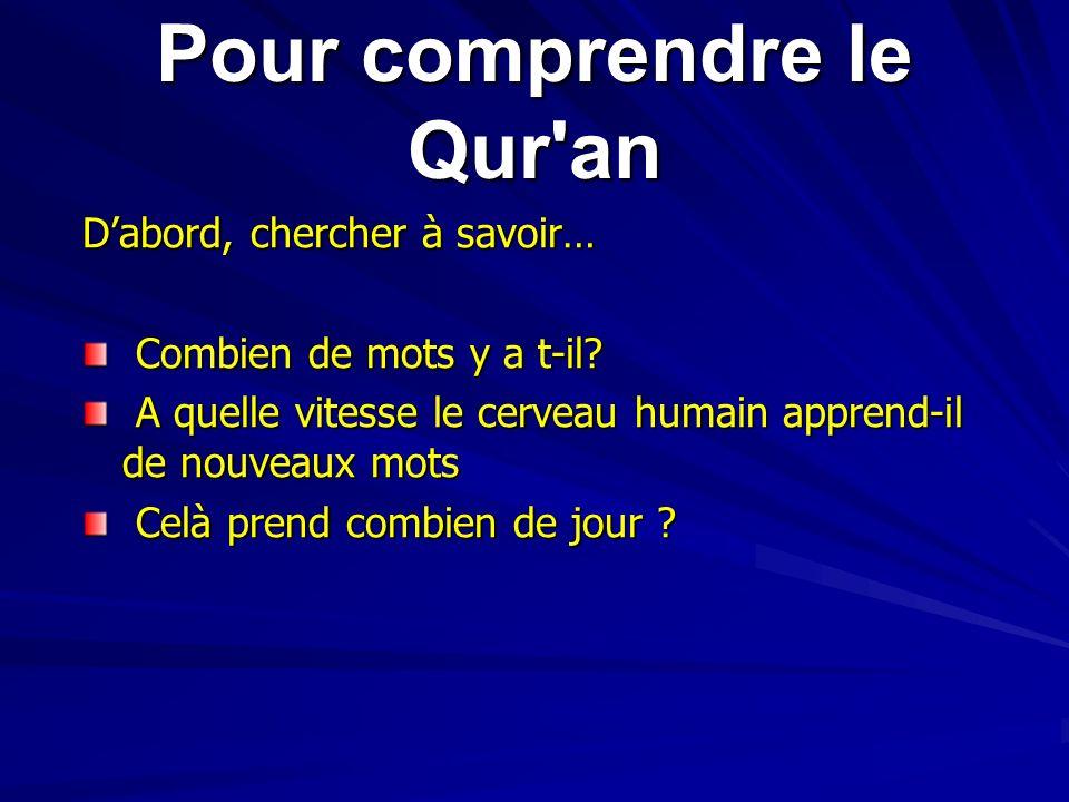 Pour comprendre le Qur'an Dabord, chercher à savoir… Combien de mots y a t-il? Combien de mots y a t-il? A quelle vitesse le cerveau humain apprend-il