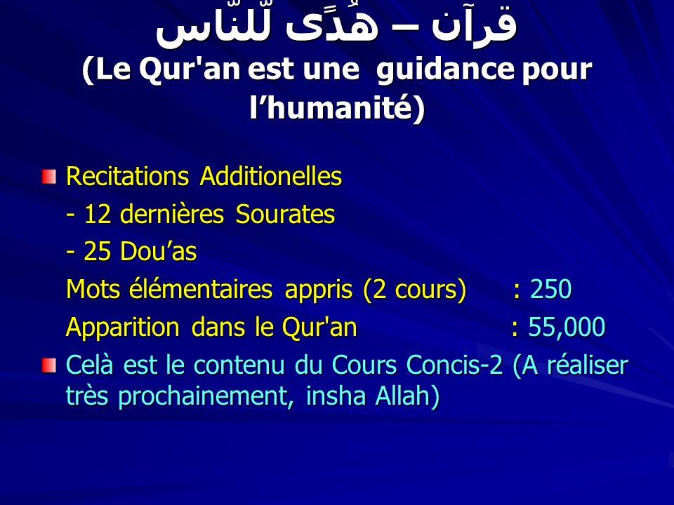 قرآن – ھُدًی لّلنّاس (Le Qur'an est une guidance pour lhumanité) Recitations Additionelles - 12 dernières Sourates - 25 Douas Mots élémentaires appris