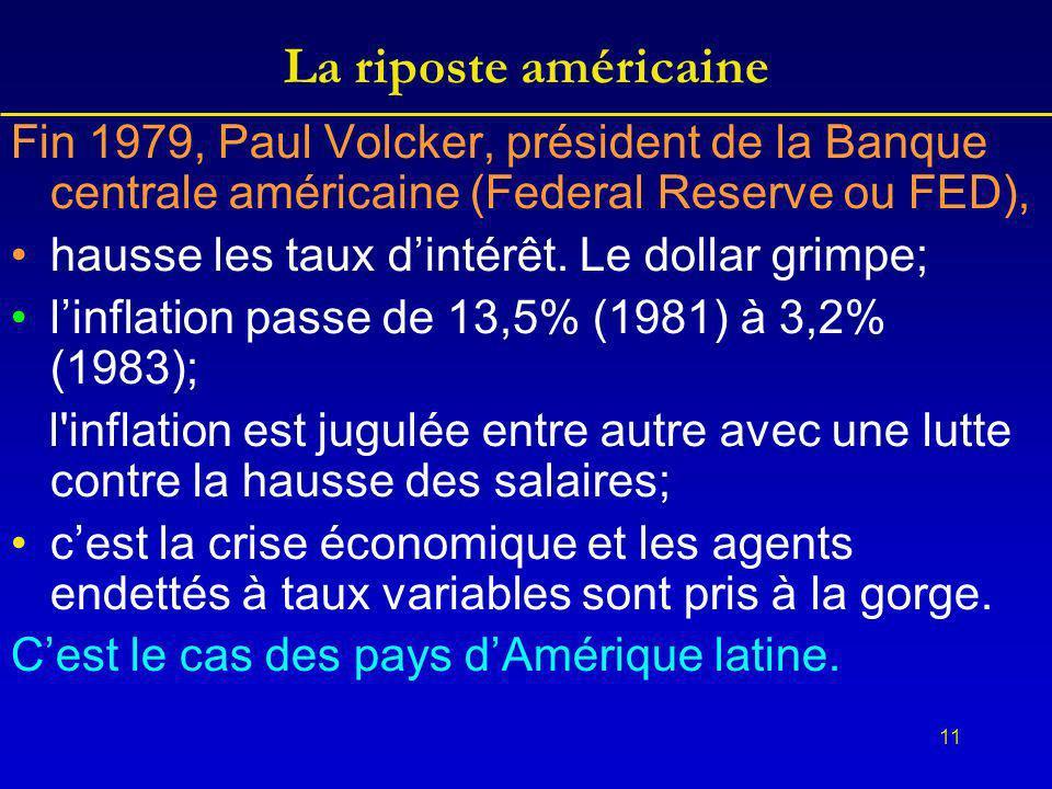 11 La riposte américaine Fin 1979, Paul Volcker, président de la Banque centrale américaine (Federal Reserve ou FED), hausse les taux dintérêt.