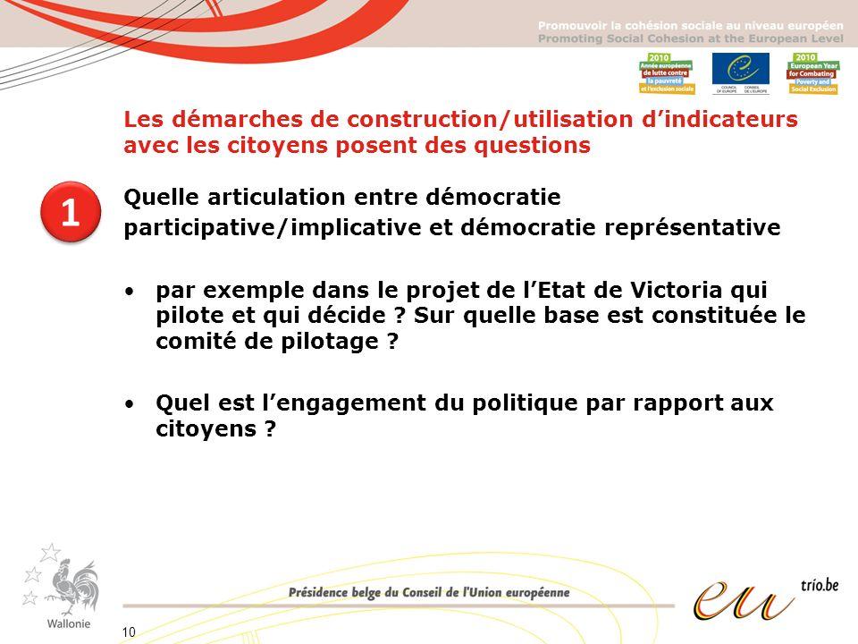 Les démarches de construction/utilisation dindicateurs avec les citoyens posent des questions Quelle articulation entre démocratie participative/implicative et démocratie représentative par exemple dans le projet de lEtat de Victoria qui pilote et qui décide .