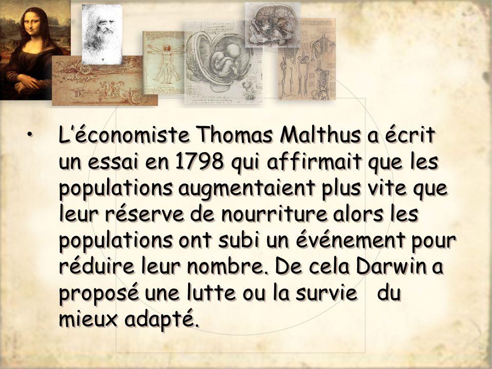Léconomiste Thomas Malthus a écrit un essai en 1798 qui affirmait que les populations augmentaient plus vite que leur réserve de nourriture alors les