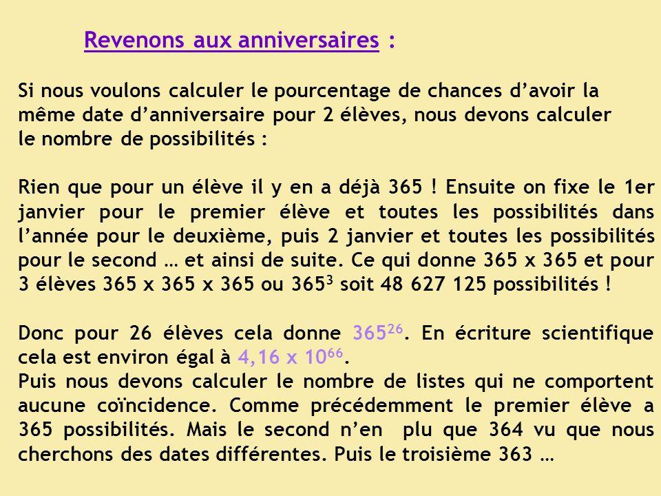 Revenons aux anniversaires : Si nous voulons calculer le pourcentage de chances davoir la même date danniversaire pour 2 élèves, nous devons calculer le nombre de possibilités : Rien que pour un élève il y en a déjà 365 .