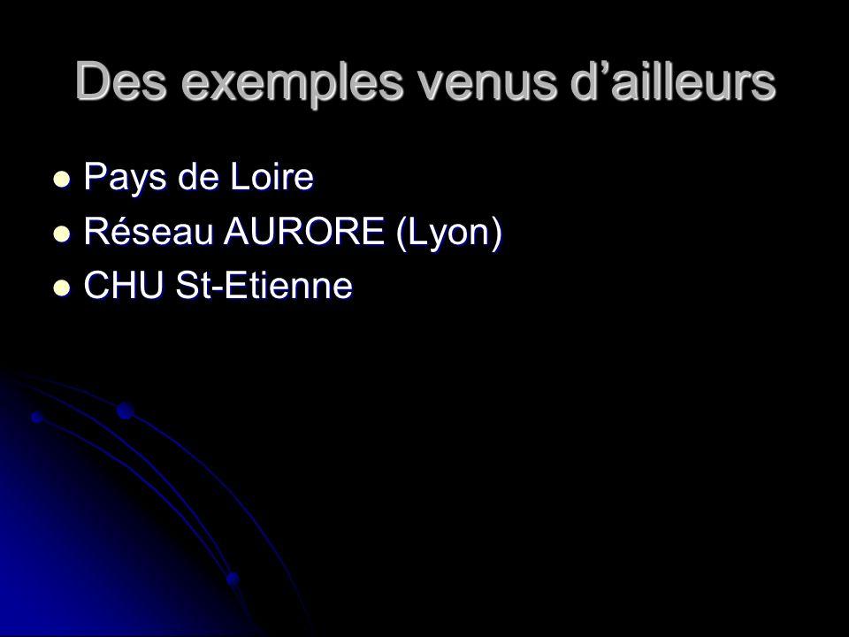 Des exemples venus dailleurs Pays de Loire Pays de Loire Réseau AURORE (Lyon) Réseau AURORE (Lyon) CHU St-Etienne CHU St-Etienne