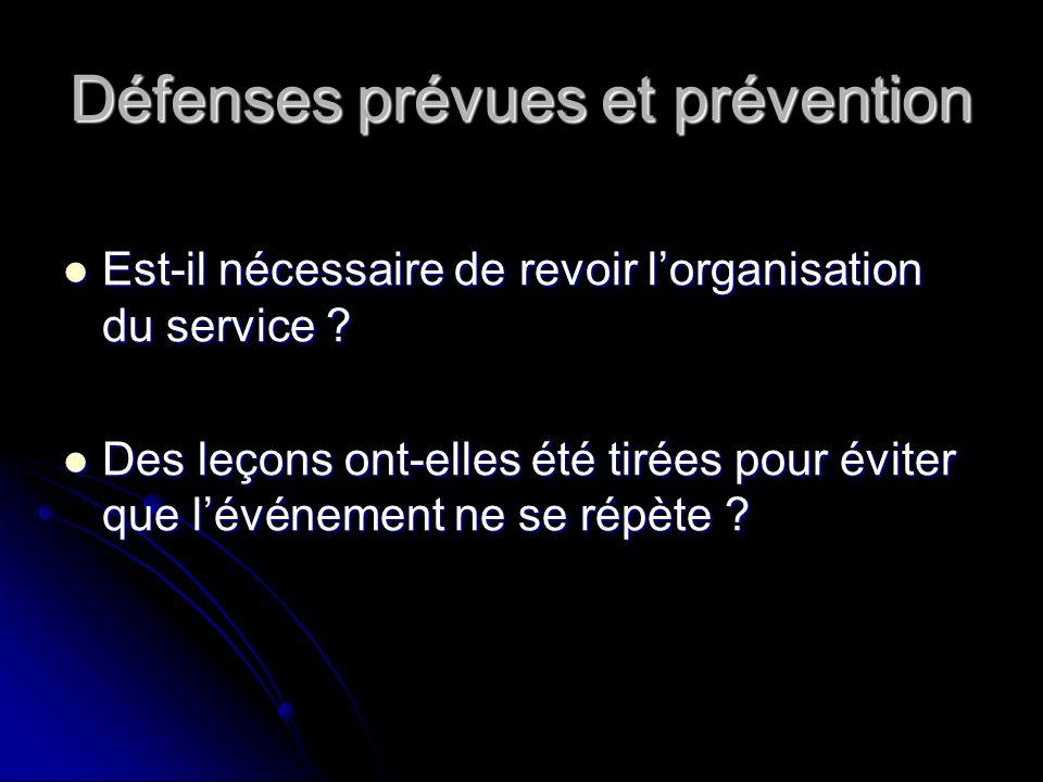 Défenses prévues et prévention Est-il nécessaire de revoir lorganisation du service .