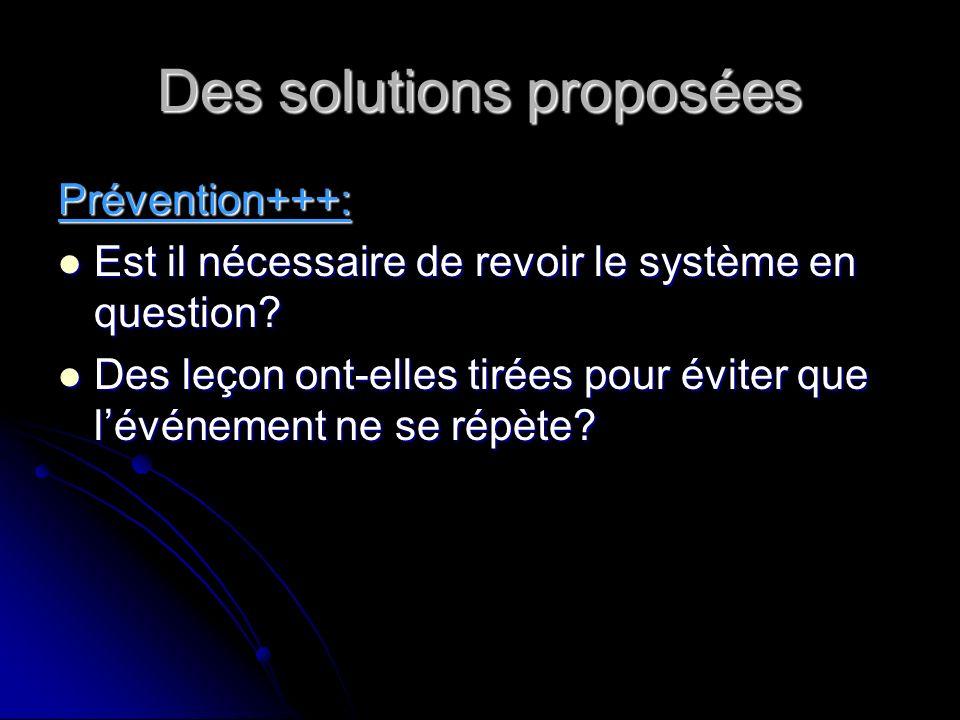 Des solutions proposées Prévention+++: Est il nécessaire de revoir le système en question.