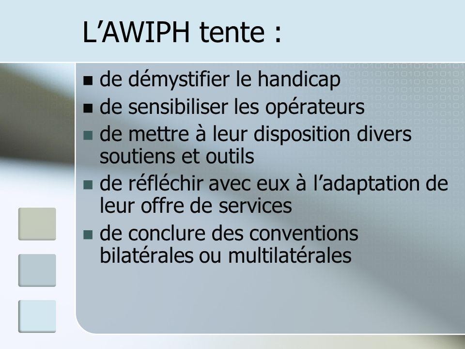 LAWIPH tente : de démystifier le handicap de sensibiliser les opérateurs de mettre à leur disposition divers soutiens et outils de réfléchir avec eux à ladaptation de leur offre de services de conclure des conventions bilatérales ou multilatérales