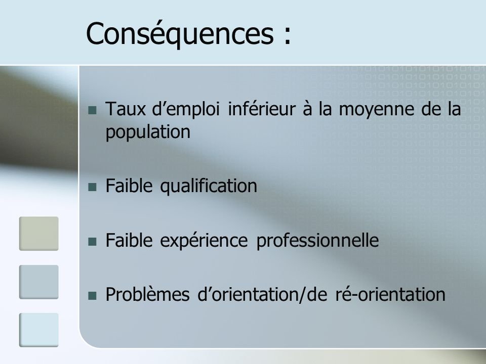Conséquences : Taux demploi inférieur à la moyenne de la population Faible qualification Faible expérience professionnelle Problèmes dorientation/de r