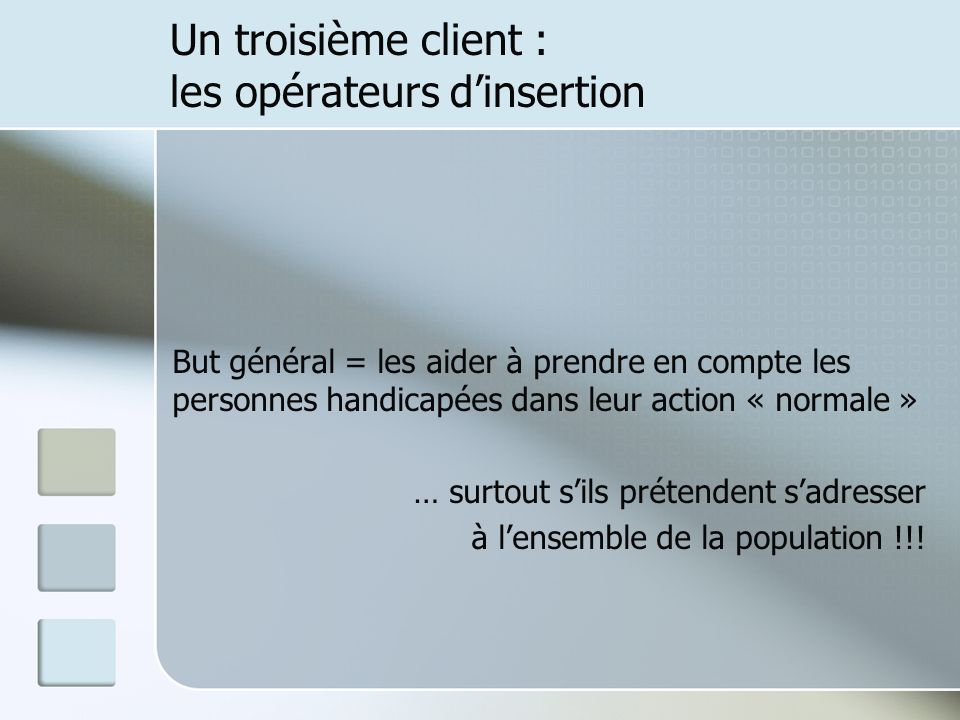 Un troisième client : les opérateurs dinsertion But général = les aider à prendre en compte les personnes handicapées dans leur action « normale » … surtout sils prétendent sadresser à lensemble de la population !!!