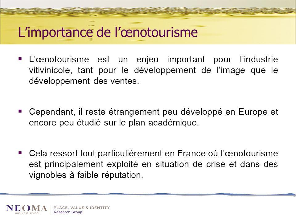 Limportance de lœnotourisme Lœnotourisme est un enjeu important pour lindustrie vitivinicole, tant pour le développement de limage que le développement des ventes.
