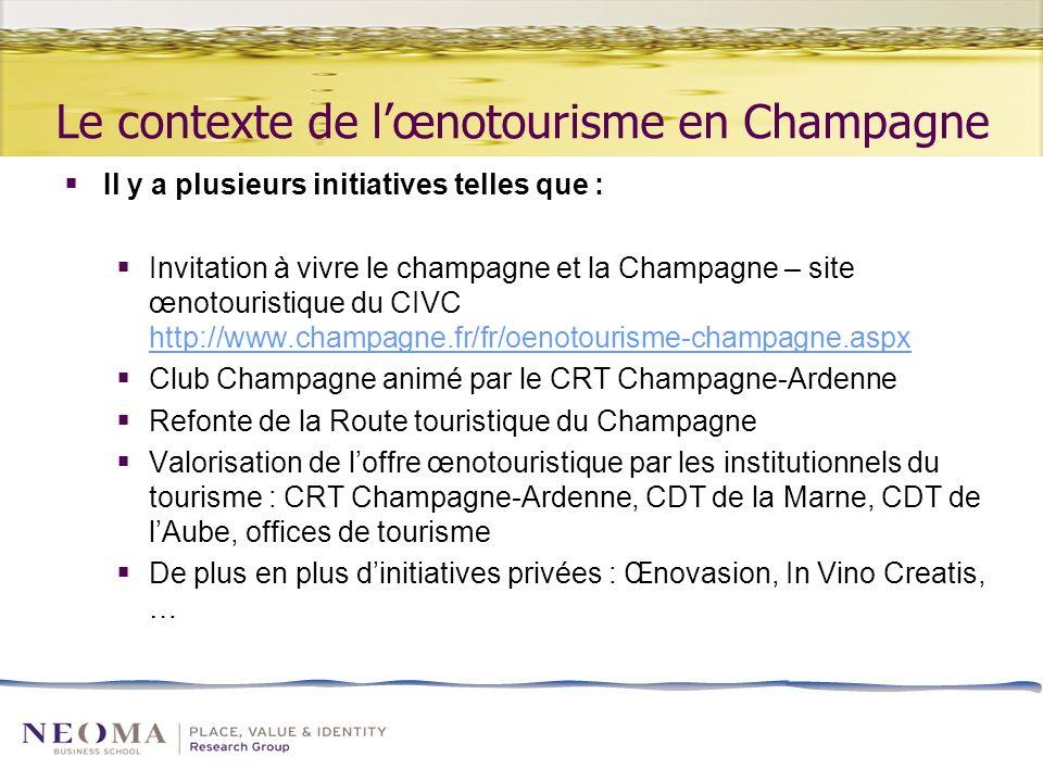 Le contexte de lœnotourisme en Champagne Il y a plusieurs initiatives telles que : Invitation à vivre le champagne et la Champagne – site œnotouristique du CIVC http://www.champagne.fr/fr/oenotourisme-champagne.aspx http://www.champagne.fr/fr/oenotourisme-champagne.aspx Club Champagne animé par le CRT Champagne-Ardenne Refonte de la Route touristique du Champagne Valorisation de loffre œnotouristique par les institutionnels du tourisme : CRT Champagne-Ardenne, CDT de la Marne, CDT de lAube, offices de tourisme De plus en plus dinitiatives privées : Œnovasion, In Vino Creatis, …