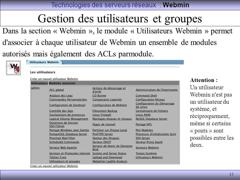 15 Gestion des utilisateurs et groupes Dans la section « Webmin », le module « Utilisateurs Webmin » permet d'associer à chaque utilisateur de Webmin