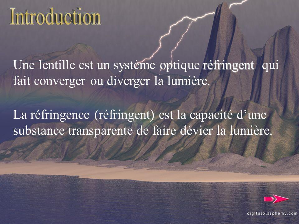 réfringent Une lentille est un système optique réfringent qui fait converger ou diverger la lumière. La réfringence (réfringent) est la capacité dune