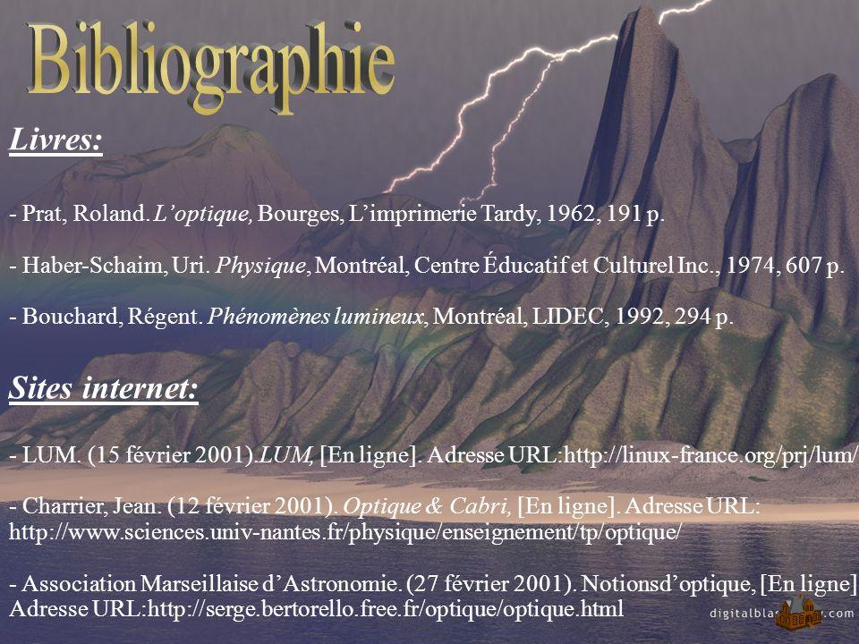 Livres: - Prat, Roland. Loptique, Bourges, Limprimerie Tardy, 1962, 191 p. - Haber-Schaim, Uri. Physique, Montréal, Centre Éducatif et Culturel Inc.,