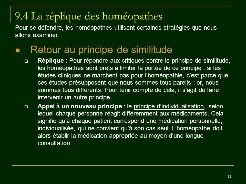 11 9.4 La réplique des homéopathes Retour au principe de similitude Réplique : Pour répondre aux critiques contre le principe de similitude, les homéo