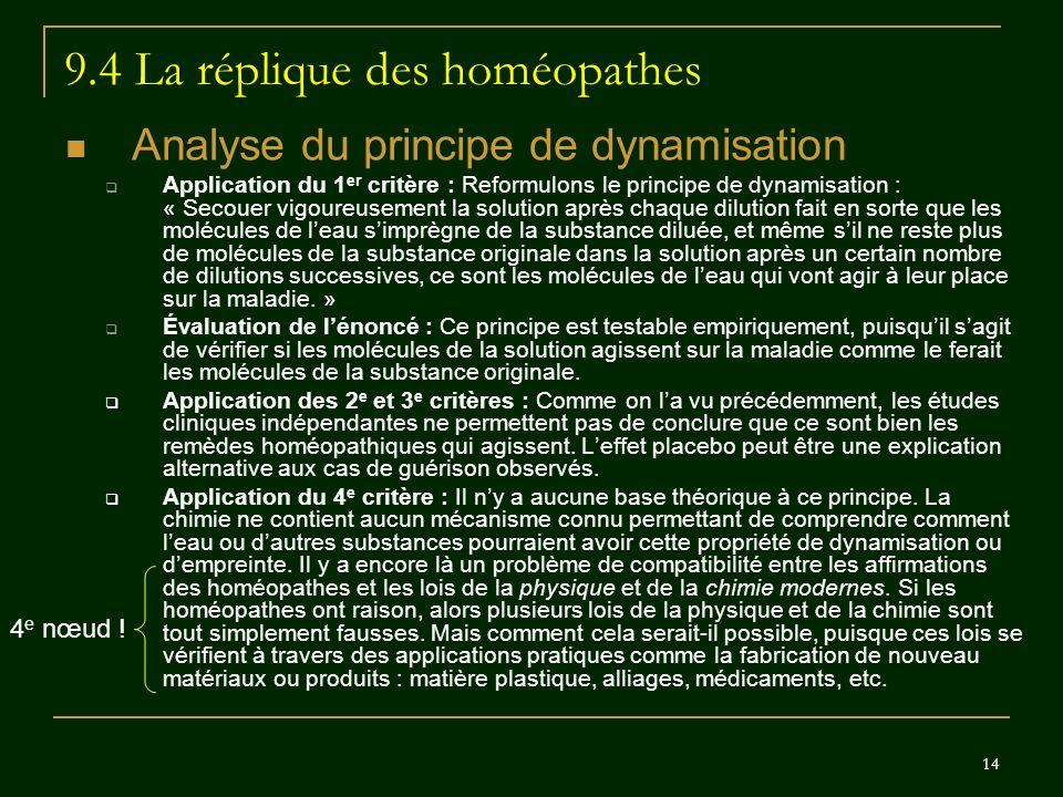 14 9.4 La réplique des homéopathes Analyse du principe de dynamisation Application du 1 er critère : Reformulons le principe de dynamisation : « Secou
