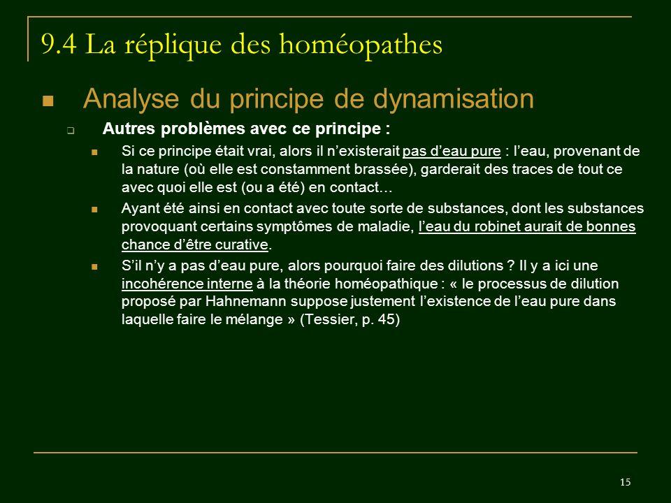 15 9.4 La réplique des homéopathes Analyse du principe de dynamisation Autres problèmes avec ce principe : Si ce principe était vrai, alors il nexiste