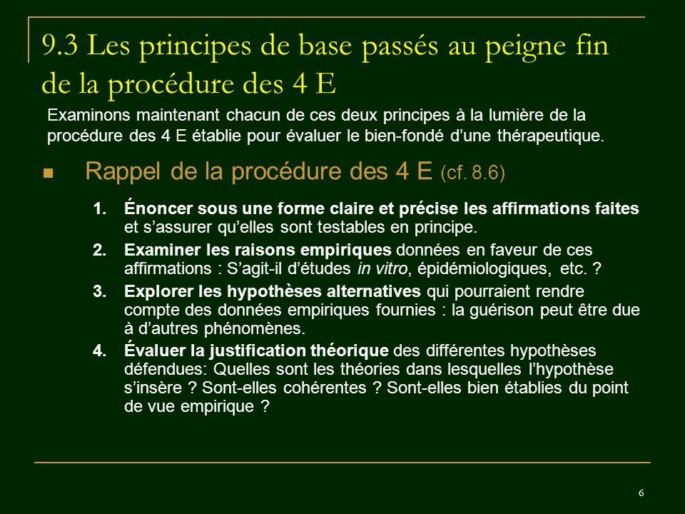 6 9.3 Les principes de base passés au peigne fin de la procédure des 4 E Rappel de la procédure des 4 E (cf. 8.6) 1.Énoncer sous une forme claire et p