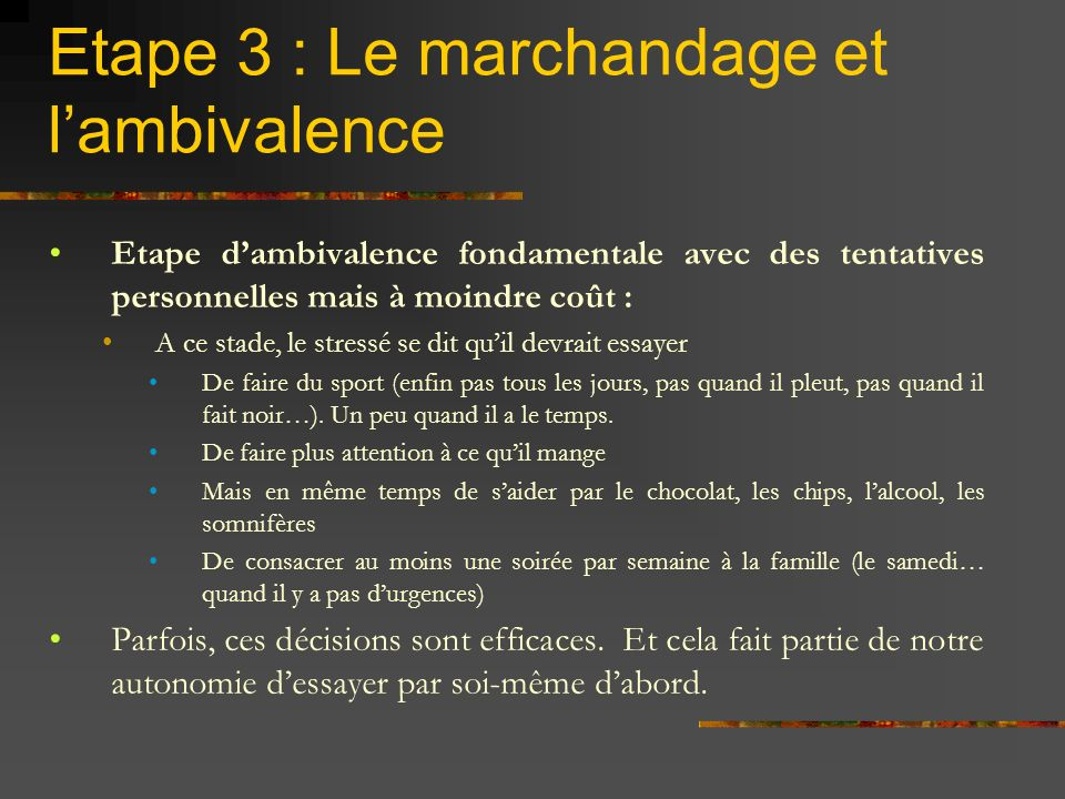 Cycle motivationnel – Etape 4 Information (Pré contemplation) Etre concerné (Contemplation) Décision (Action) Ambivalence (Détermination)