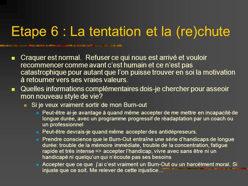 Etape 6 : La tentation et la (re)chute Craquer est normal. Refuser ce qui nous est arrivé et vouloir recommencer comme avant cest humain et ce nest pa