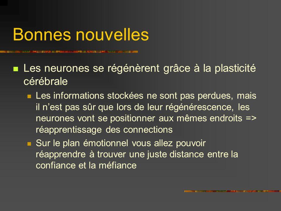Bonnes nouvelles Les neurones se régénèrent grâce à la plasticité cérébrale Les informations stockées ne sont pas perdues, mais il nest pas sûr que lo