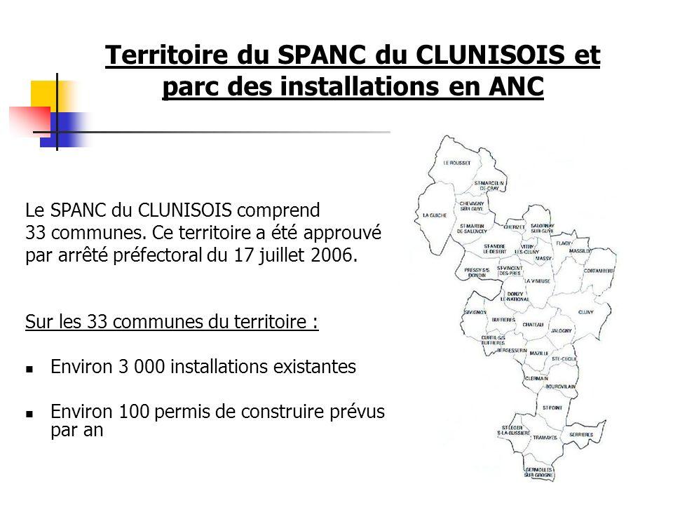 Territoire du SPANC du CLUNISOIS et parc des installations en ANC Sur les 33 communes du territoire : Environ 3 000 installations existantes Environ 1