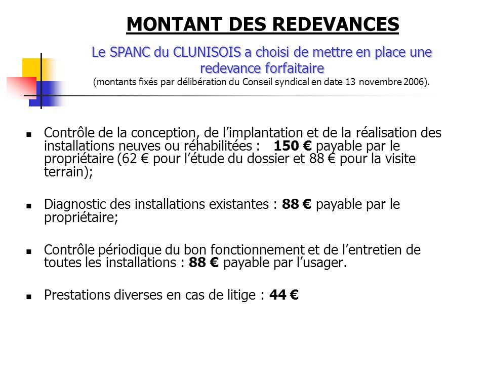 MONTANT DES REDEVANCES Contrôle de la conception, de limplantation et de la réalisation des installations neuves ou réhabilitées : 150 payable par le