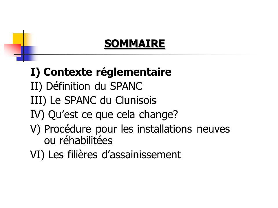 CONTEXTE REGLEMENTAIRE LOI SUR LEAU n° 92-3 du 03 janvier 1992(codifiée dans le Code Général des Collectivités Territoriales - C.G.C.T.) Nouvelle loi sur leau du 30 décembre 2006 2 Arrêtés du 6 mai 1996 (prescriptions techniques et contrôle exercé par les communes) Circulaire du 22 mai 1997 sur lANC + une norme technique : XP P 16-603 dAoût 1998 modifié en mars 2007