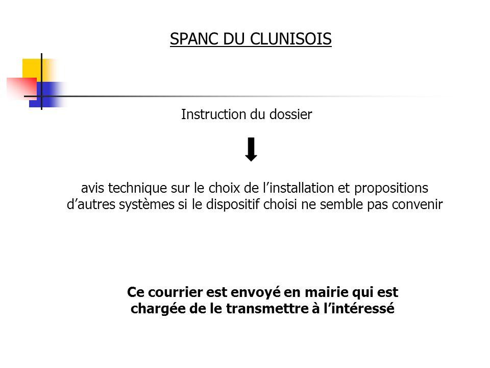 SPANC DU CLUNISOIS Instruction du dossier avis technique sur le choix de linstallation et propositions dautres systèmes si le dispositif choisi ne sem