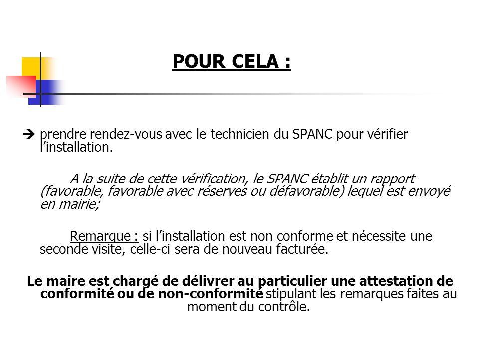 prendre rendez-vous avec le technicien du SPANC pour vérifier linstallation. A la suite de cette vérification, le SPANC établit un rapport (favorable,