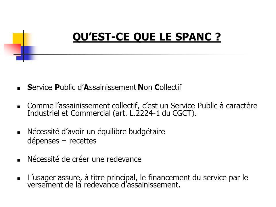QUEST-CE QUE LE SPANC ? Service Public dAssainissement Non Collectif Comme lassainissement collectif, cest un Service Public à caractère Industriel et