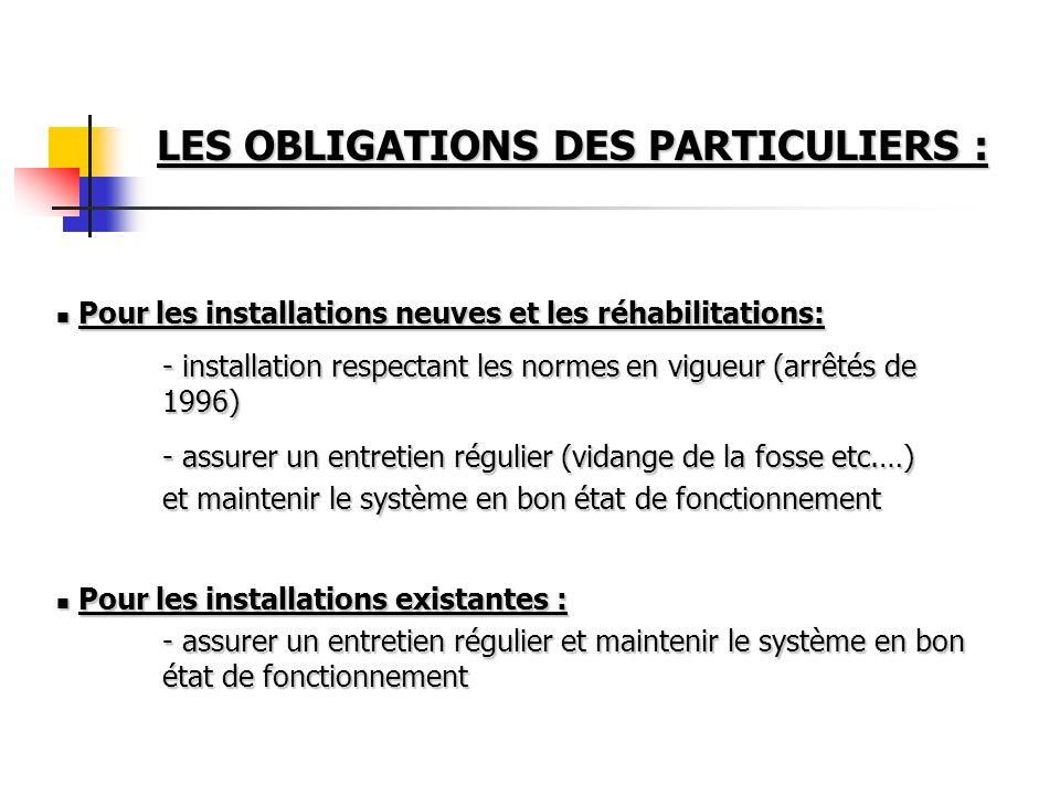 Pour les installations neuves et les réhabilitations: Pour les installations neuves et les réhabilitations: - installation respectant les normes en vi