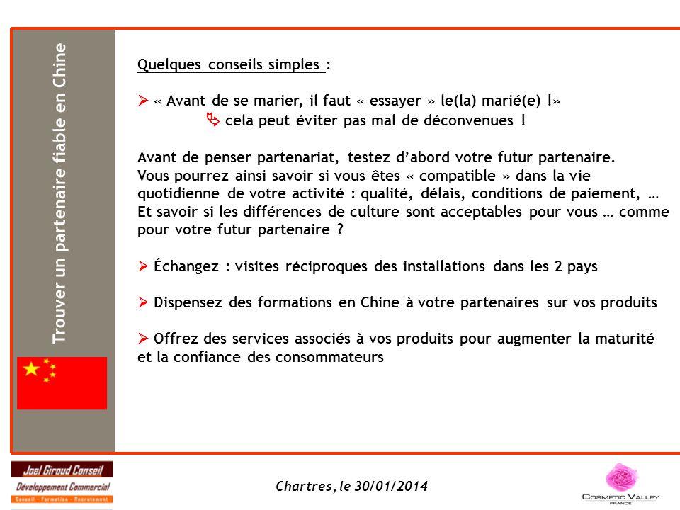 Chartres, le 30/01/2014 Quelques conseils simples : « Avant de se marier, il faut « essayer » le(la) marié(e) !» cela peut éviter pas mal de déconvenues .