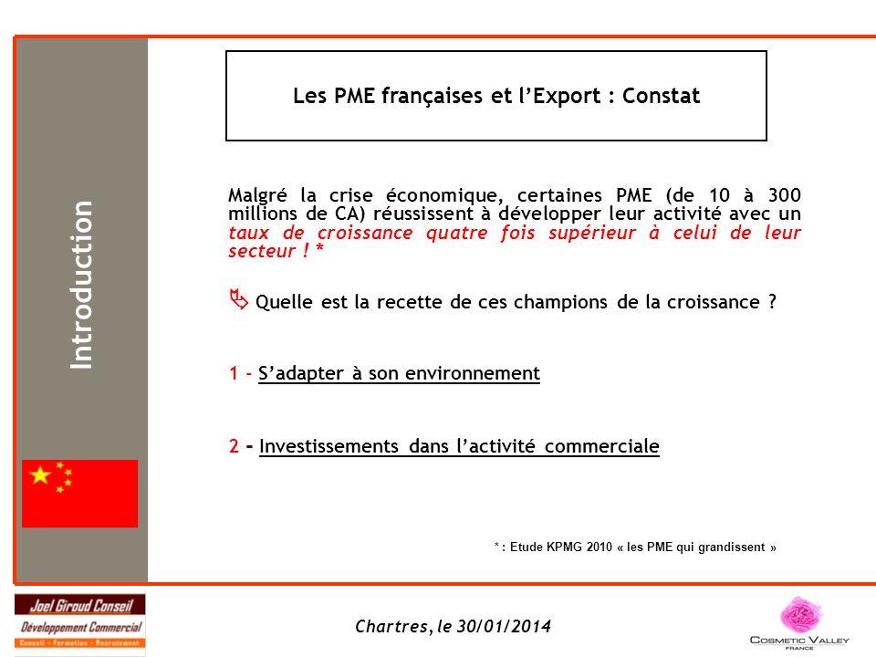 Chartres, le 30/01/2014 Malgré la crise économique, certaines PME (de 10 à 300 millions de CA) réussissent à développer leur activité avec un taux de