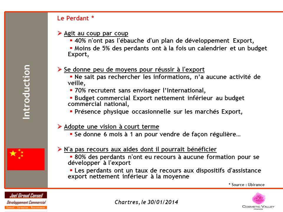 Chartres, le 30/01/2014 Le Perdant * Agit au coup par coup 40% n'ont pas l'ébauche d'un plan de développement Export, Moins de 5% des perdants ont à l