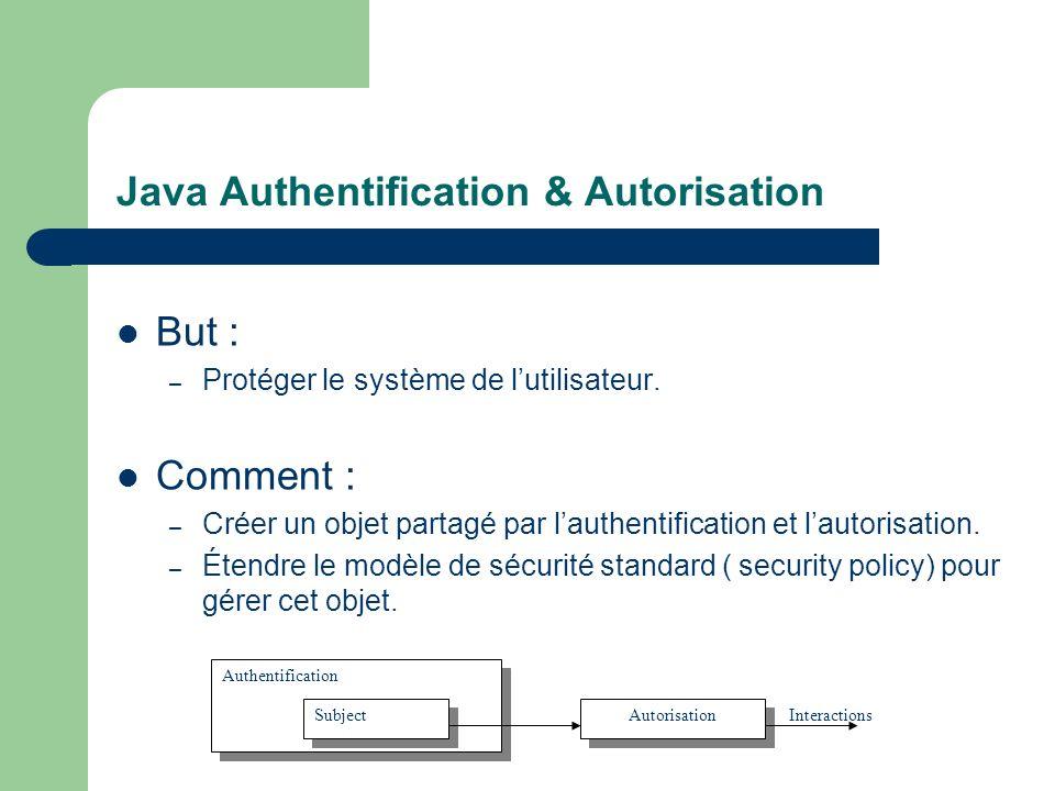 Java Authentification & Autorisation But : – Protéger le système de lutilisateur. Comment : – Créer un objet partagé par lauthentification et lautoris