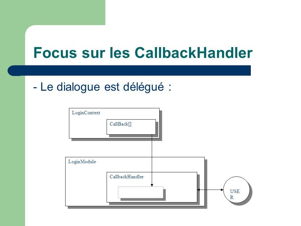 Focus sur les CallbackHandler - Le dialogue est délégué : LoginContext LoginModule CallbackHandler USE R CallBack[]