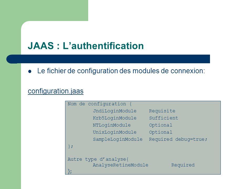 JAAS : Lauthentification Le fichier de configuration des modules de connexion: configuration.jaas Nom de configuration { JndiLoginModule Requisite Krb
