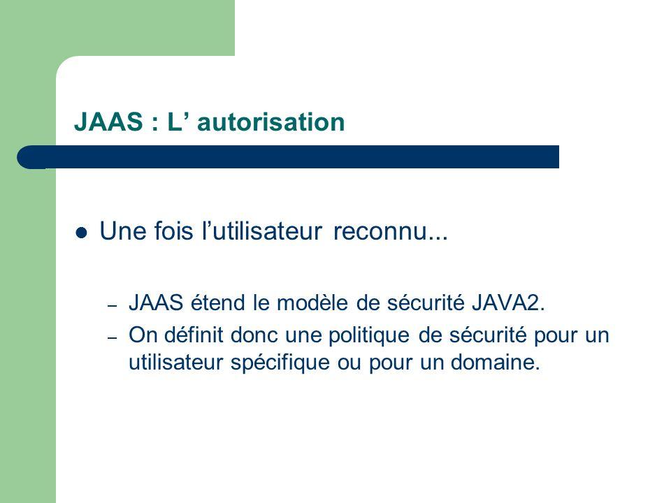 JAAS : L autorisation Une fois lutilisateur reconnu... – JAAS étend le modèle de sécurité JAVA2. – On définit donc une politique de sécurité pour un u