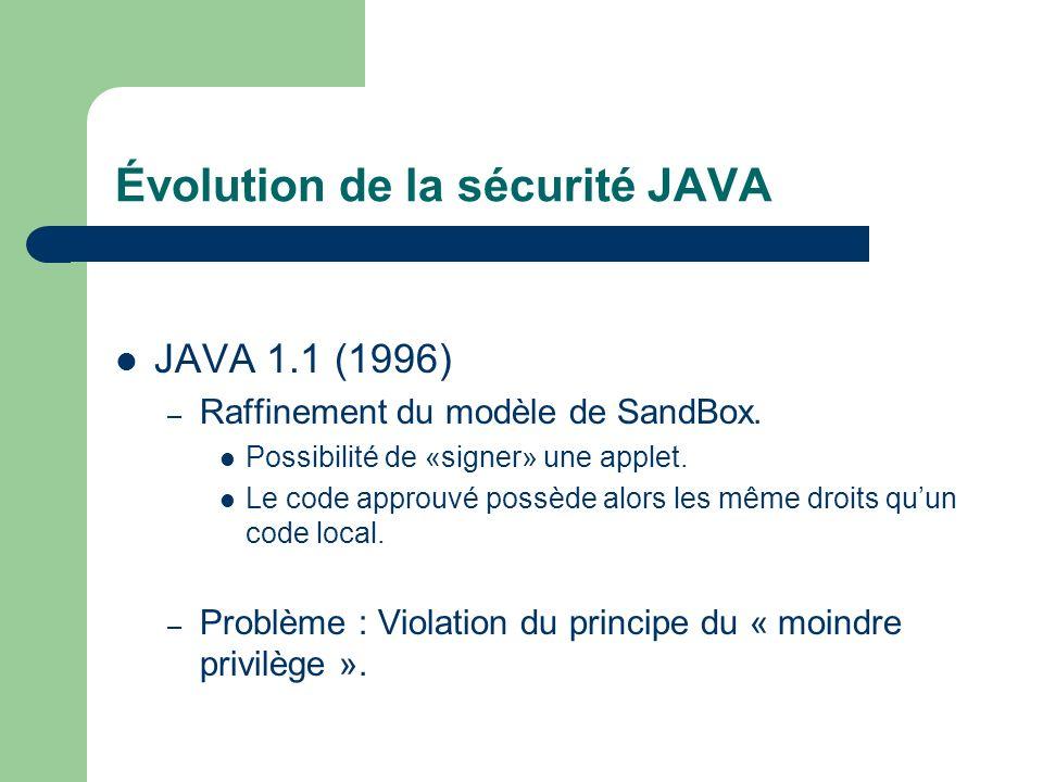 Évolution de la sécurité JAVA JAVA 1.1 (1996) – Raffinement du modèle de SandBox. Possibilité de «signer» une applet. Le code approuvé possède alors l