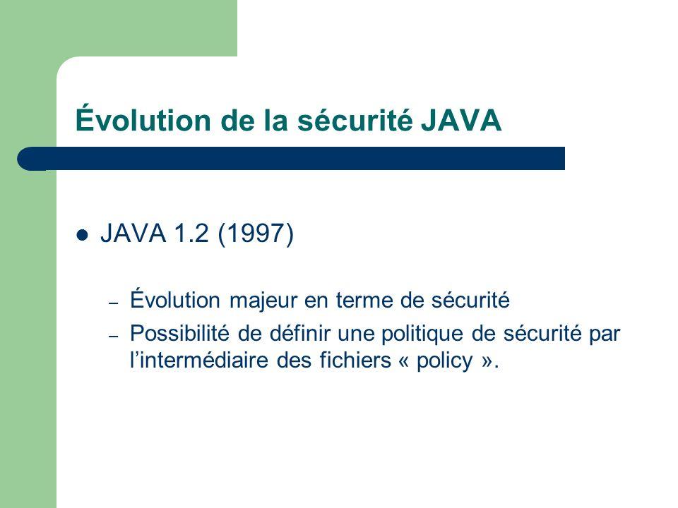 JAVA 1.2 (1997) – Évolution majeur en terme de sécurité – Possibilité de définir une politique de sécurité par lintermédiaire des fichiers « policy ».