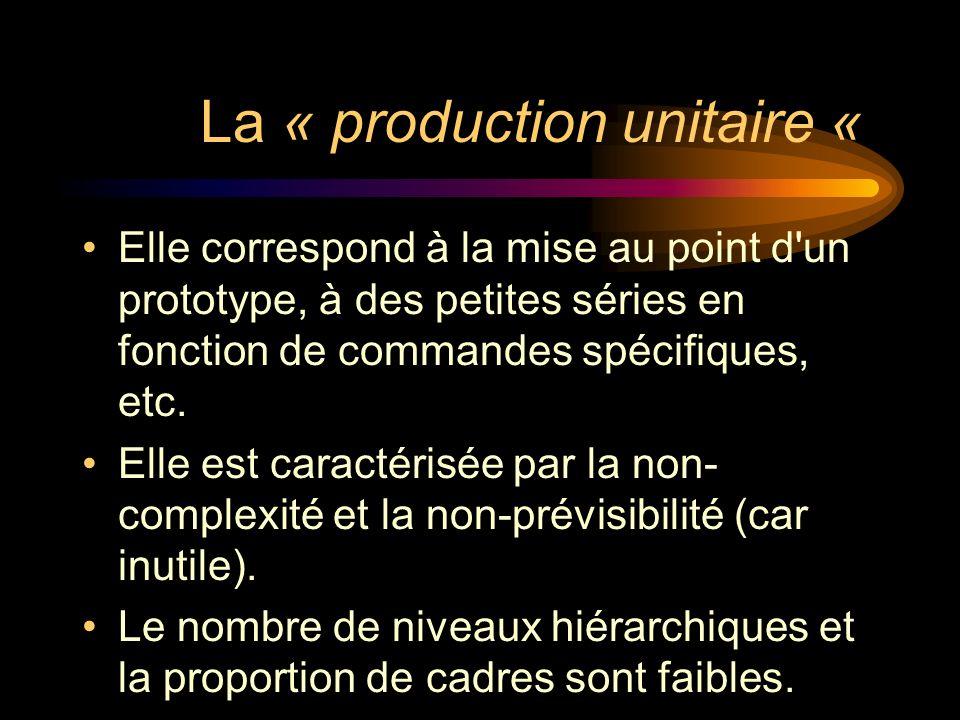 La « production unitaire « Elle correspond à la mise au point d'un prototype, à des petites séries en fonction de commandes spécifiques, etc. Elle est